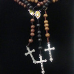 "36"" Cross Wood Beaded Rosary w/ Guadalupe w/ Silver Cross w/ Jesus   .54 ea"