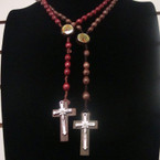 "36""Oval Wood Beaded Rosary w/ Guadalupe w/ Wood/Silver Cross w/ Jesus   .54 ea"