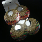 "2.25"" Rd. Antique Gold Earring w/ Painted Swirl Bottom .54 ea"