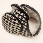 Ear Muffs Wrap Behind The Head Checker Blk/White  Only .40 ea
