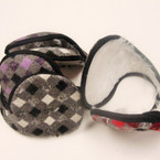 Ear Muffs Wrap Behind The Head Gray & Color Checker Print Only .40 ea