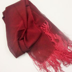 """19"""" X 60"""" Sheer Fashion Scarf w/ Finges Mixed Colors ONLY .75 each"""
