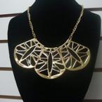 """18"""" Gold Chain Necklace w/ 3 Part Gold/Black Pendant .56 ea"""