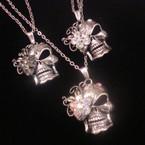 "18"" Silver Chain Necklace w/ Skull Head Pendant w/ Crystals .54 ea"