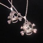 "18"" Silver Chain Necklace w/ Skull Head Pendant w/ Crystals (2773) .54 ea"