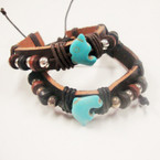 Teen Leather Bracelet w/ Silver,Wood Beads & Turquoise Stone Dolphin .54 ea