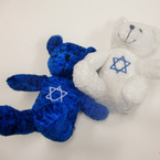 "7"" Very Plush Blue & White Bears w/ Jewish Star  .95 ea"