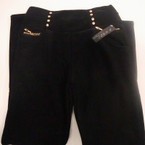 Ladies All Black Winter Pant Fur Lined Gold Stud w/ Stone L/XL $ 7.50 each