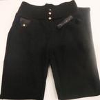 Ladies  Black Winter Pant Fur Lined Wide Waist Ban Gold Stud w/ Stone LXL $ 6.50 ea