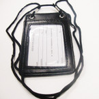 "3"" X 4.5"" Black Leather ID Holder on Lanyard  .54 ea"