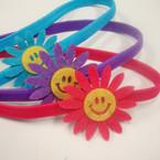 3 Pack Asst Color Elastic Headband w/ Happy Face Ornament .52 per set