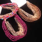 Multi Strand  Seed Bead & Gold Chain Fashion Bracelet .54 ea