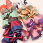 "4"" Two Tone Color Satin Fabric Gator Clip Bow .54 ea"
