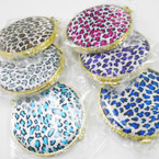 "2.75"" Round DBL Compact Mirror Animal Print Fabric .54 ea"