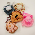 Plush Animal Coin Purse/Back Pak Charm 6 Styles .54ea