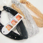 Sequin Fabric 3 in 1 Headband Gold/Sil/Black .54 ea