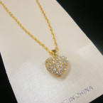 Gold Chain Necklace w/ Elegant Petite Gold Crystal Stone Heart .54 ea