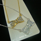 "Gold & Silver Chain Necklace W/ 1.5"" Crystal Stone Bow Pend. .54 ea"