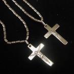 "2 Pack 22"" Hematite Cross Necklaces w/ JESUS  (483)  .54 per set"