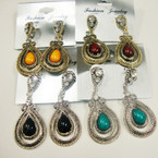 "2.25"" Gold & Silver Colored Stone Fashion Earring w/ Crystals .54 ea"