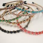 Fashionable Wrapped Colored Oval Stone Headbands .54 ea