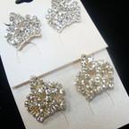 ".75"" Rhinestone Crown Style Earring Gold/Silver .54 ea"