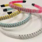 Asst Color Velvet Headband w/ Triple Row of Crystals  .54 ea