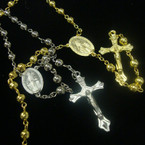 "36"" Metal Bead Gold & Silver Rosary w/ Cross w/ JESUS .54 ea"