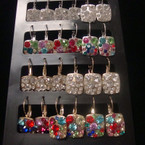 Gold & Silver Euro Wire Earring Square w/ Crystal Stones Clear/Multi  12 pair unit