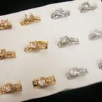 2 Pc Gold & Silver Wedding Band Ring Set w/ Crystal Stones (260) .54 per set