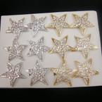 Gold & Silver Big Crystal Stone Star Ring .54 ea