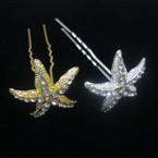 "2.75"" Gold & Starfish Crystal Stone Hair Stick Pin  .54 ea"