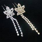 "2.75"" Gold & Silver Dangle  Rhinestone Hair Stick Pin Flower Style  .54 ea"