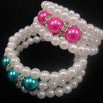 Kid's Size 3 Row PEarl Coil Bracelet w/ Colored Bead & Crystals  .50 EA