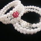 Kid's Size 3 Row Pearl Coil Bracelet w/ Shamballa Crystal Ball   .50 EA
