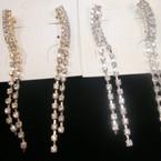 "Fashionable 3"" Rhinestone 2 Line Earrings Gold/Sil Clear Stones .56 ea"
