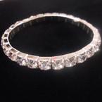 Silver Color Big Crystal Stone Stretch Tennis Bracelet .54 ea