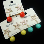 Cute Gold Starfish Earring w/ Colored Ball Drop .52 ea
