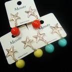 Cute Gold Starfish Earring w/ Colored Ball Drop .52 ea