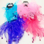 2 Pack Chiffon TuTu Hair Twisters w. Dangle Stones .54 per set