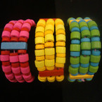 3 Strand Wood Bead Stretch Bracelet 3 color groups   .25 ea