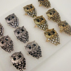 Popular Gold & Silver OWL Theme Ring w/ Crystals .50 ea