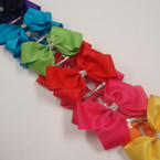 "5"" Mixed Bright Color Gator Clip Bow w/ Mini Crystal Stones .54 ea"