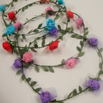 Popular Flower Covered Halo w/ Greens & Dot Lace  .54 ea