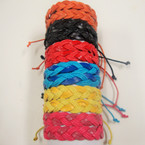 Two Tone Braid Style Leather Bracelet Asst Bright Colors .54 ea