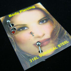 3 Pk Silver Body Piercing Set w/ Asst Color Stone (108)12-sets per display cd