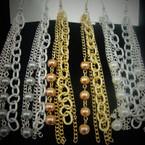 """4.5"""" Trendy Multi Chain & Pearl Earring .54 ea"""