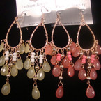 """3.5"""" Gold Frame Fashion Earring w/ Colorful Oval Beads .49 ea"""