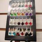Silver Euro Wire Earring w/ Rhinestone & Lg. Sq. Crystal Stone 12 pair unit .54 per pr