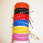 Popular Teen Leather Bracelet Braided Style Asst Brights .54 ea